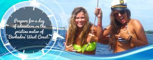 small cats catamaran cruises, two beautiful girls, thumbs up, adventure, excitement, captain's hat, pristine barbados west coast