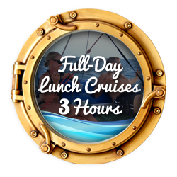 small cats catamaran sailing cruises, full day cruises 3 hours, couple lounging on deck